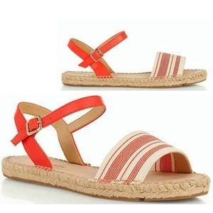 Talbots Ivy Leather Ankle Strap Sandals Orange 9.5